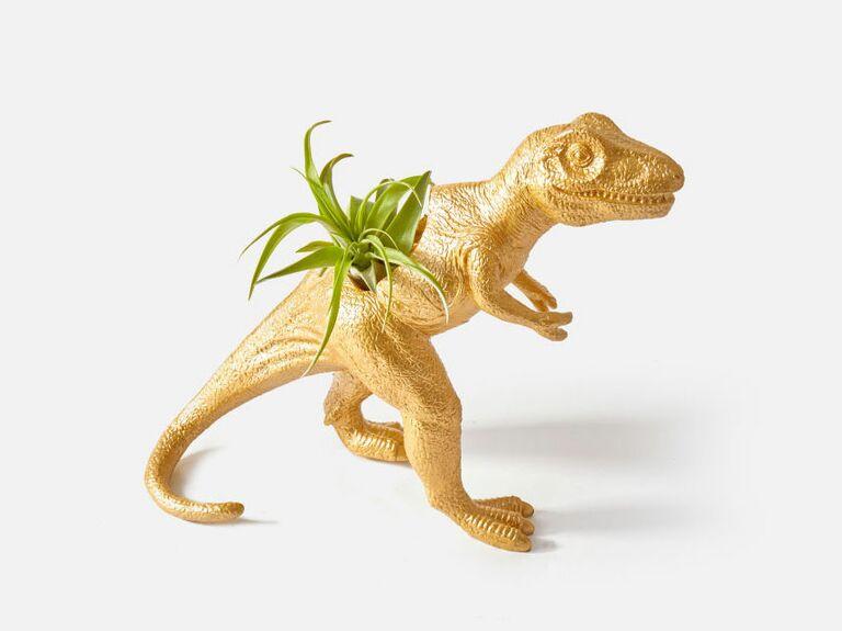 Dinosaur succulent vase flower fourth anniversary gift