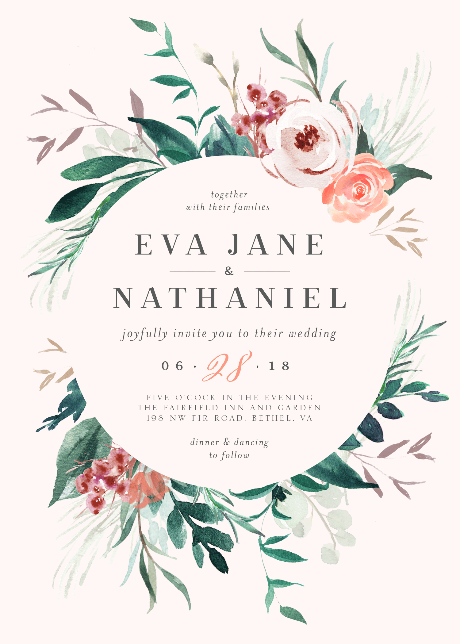 Customizable watercolor wedding invitation featuring your names and wedding details in a floral wreath.