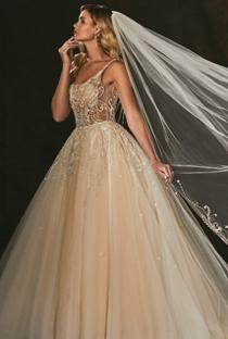 beaded Amare wedding dress with full skirt