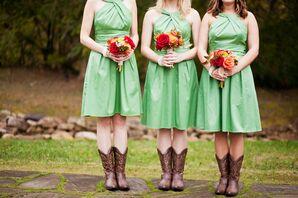 Green Halter Bridesmaid Dresses