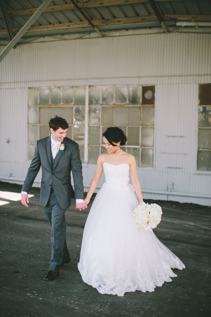 Three-Piece Gray and White Groom's Suit