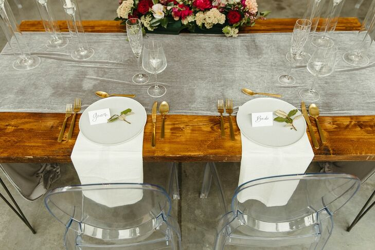 Farm Table with Gray Runner, Classic Place Settings and Ghost Chairs
