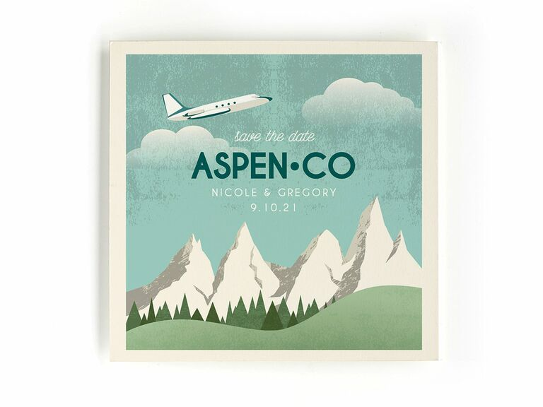 Minted mountains and airplane destination wedding save-the-date