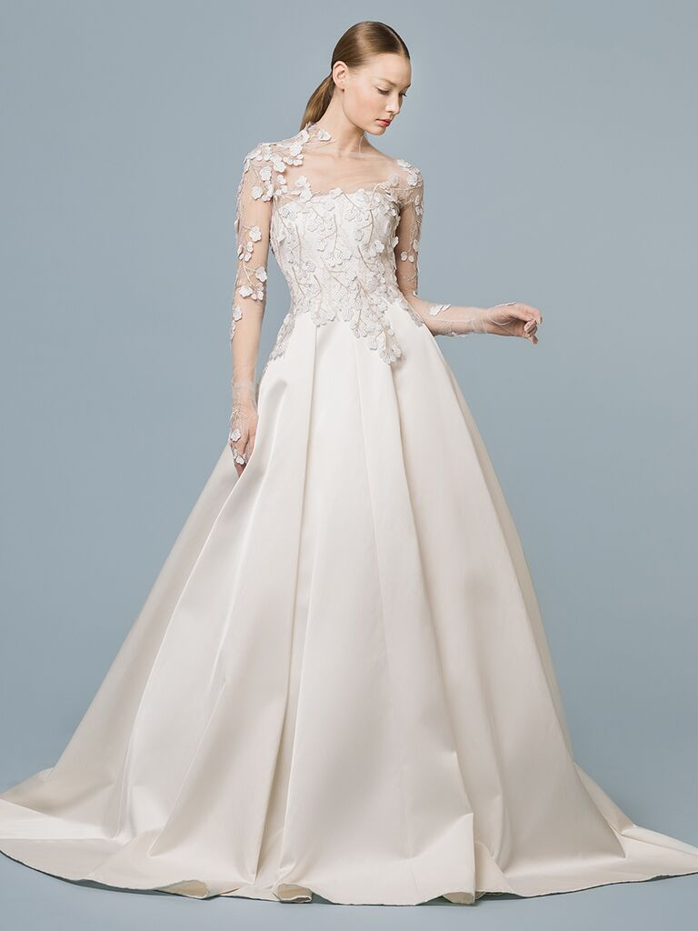 EDEM Demi Couture ballgown with sheer overlay with floral appliques
