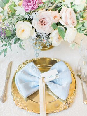 Gold Place Setting with Blue Velvet Linen
