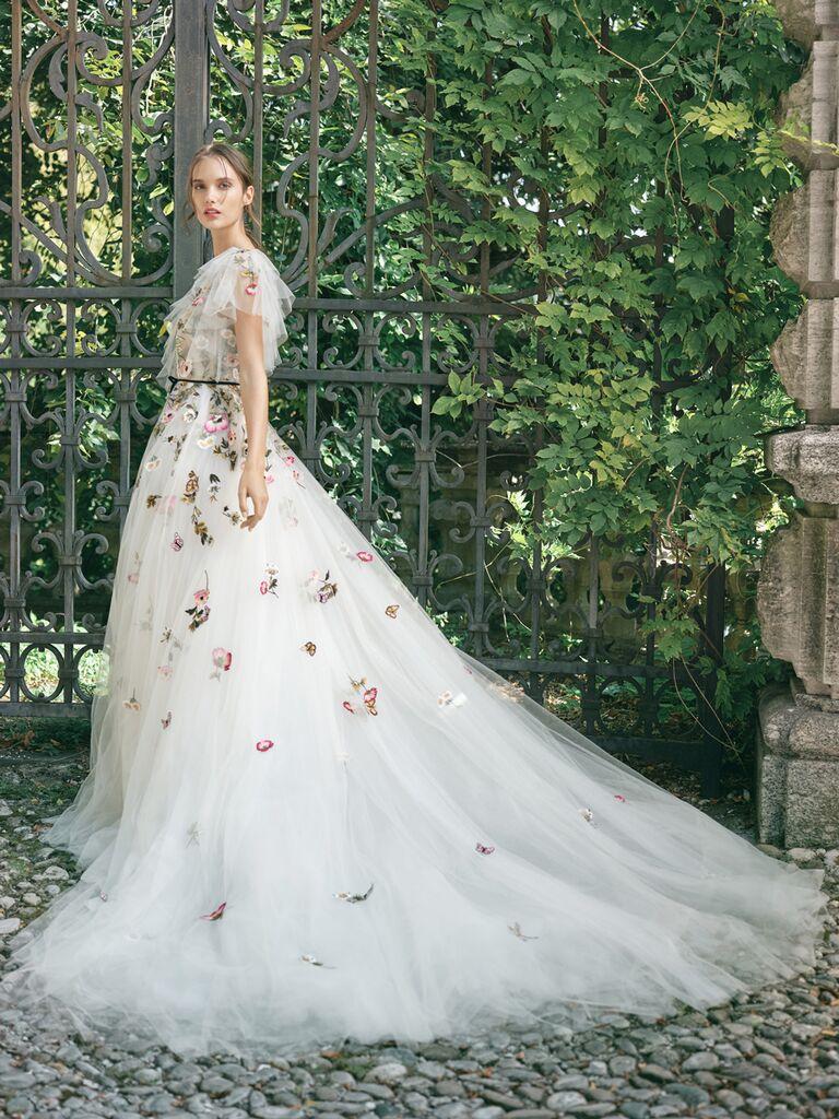 monique lhuillier floral ballgown with flutter sleeve