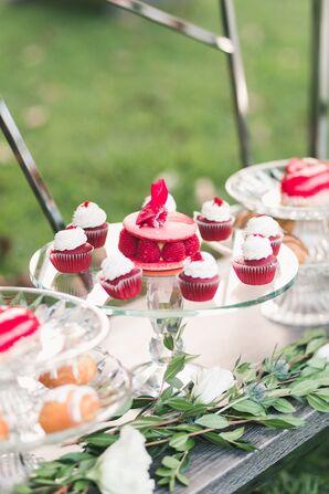 Red Velvet Cupcakes and Raspberry Macarons