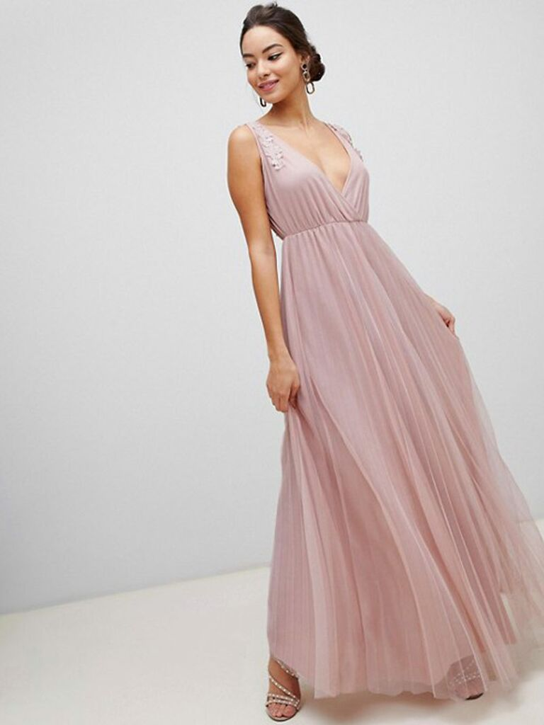Pink ASOS spring bridesmaid dress with floral embroidery