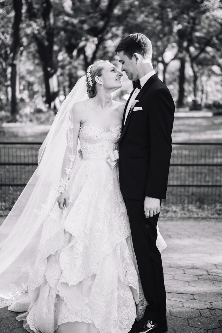 Pnina Tornai Floral Applique Wedding Dress