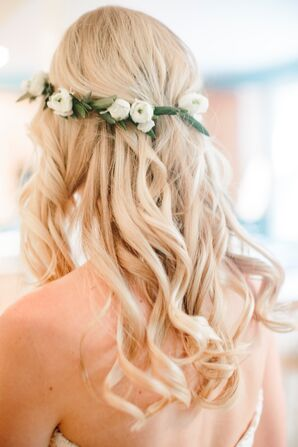 Natural Bridal Style Complete with Curls and Flower Crown