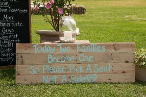 DIY Wooden Ceremony Sign of Blue Paint