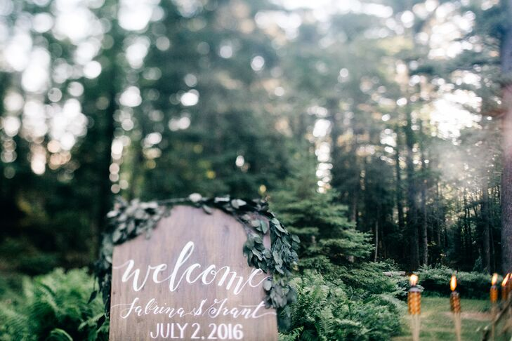 Wooden Hand-Lettered Sign with Eucalyptus Garland