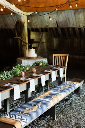 Farm Table Reception in Barn