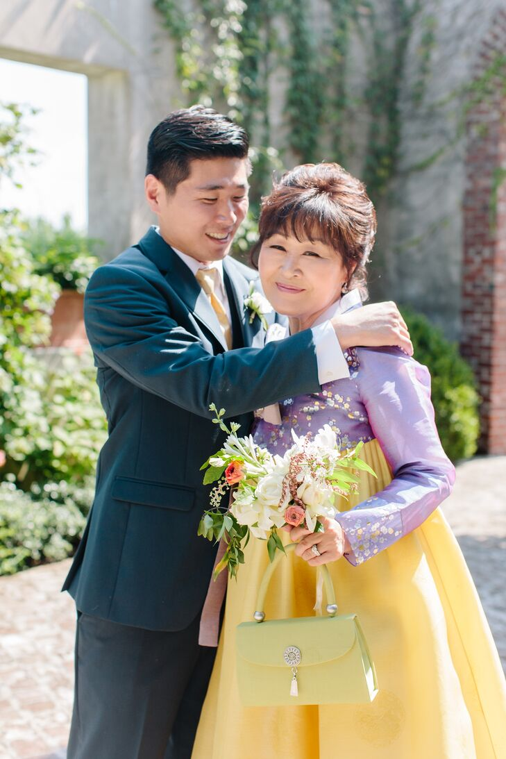 Yellow and Purple Mother-of-the-Groom Dress