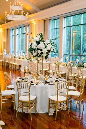 Romantic Reception with Gold Chiavari Chairs at Atlanta History Center in Georgia
