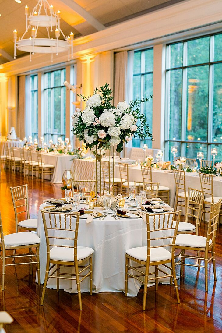 Romantic Reception with Gold Chiavari Chairs at Atlanta History Center in Georgia