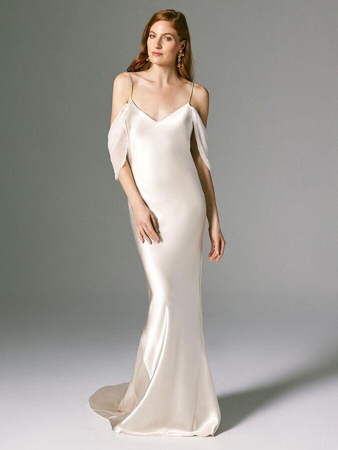 Savannah Miller sleeveless wedding dress with cold-shoulder detail