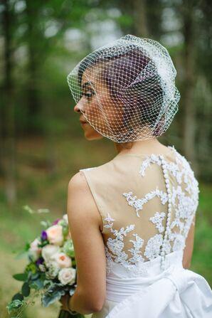 Bride in a Vintage Birdcage Veil
