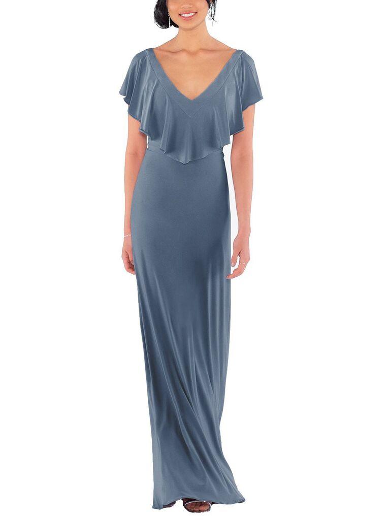 Blue gray flouncy bridesmaid dress