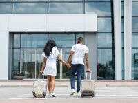 Couple traveling at airport