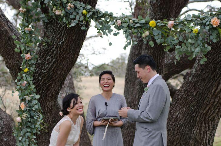 Outdoor Ceremony Under Eucalyptus Garland