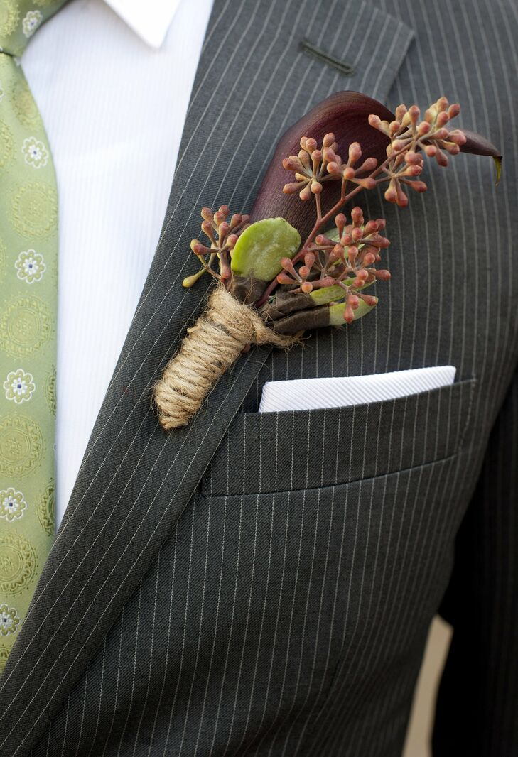 JJ's boutonniere had a rustic flair with deep purple calla lilies and red eucalyptus seeds wrapped in twine.