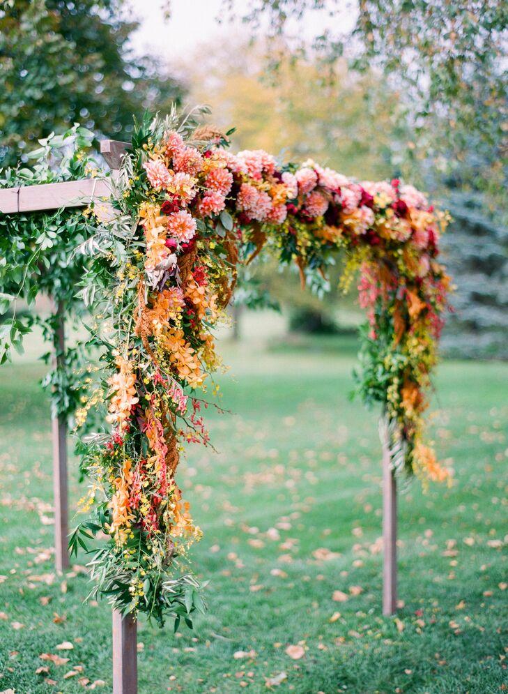 Orange Mokara Orchid Wedding Arch