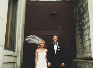 Blakely and Matt celebrated their wedding in a glam event space with glitzy formal attire and delicious appetizers.