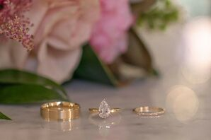 Modern Gold Engagement Ring and Wedding Bands