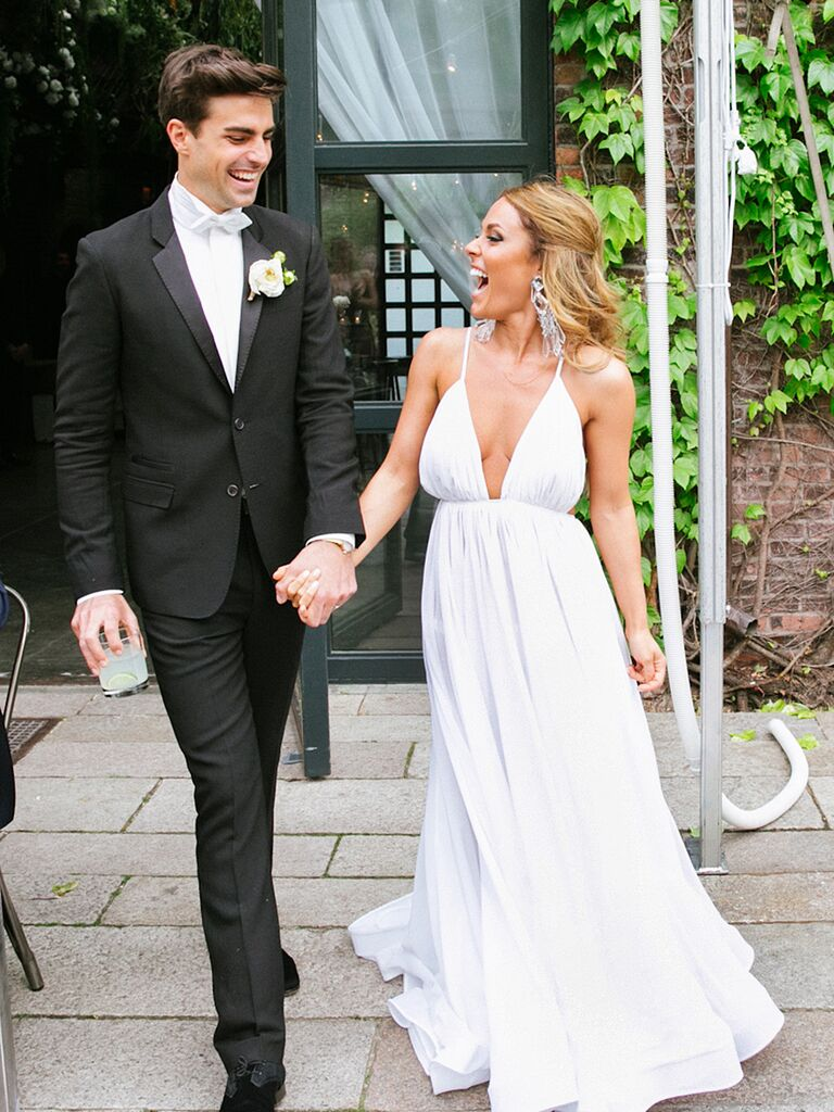 Simple Wedding Dress With A Y Low Cut Neckline