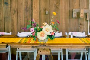 Bright Wildflower and Peony Flower Arrangements