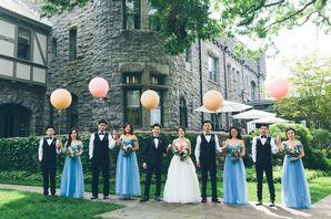 Blue Chiffon Off-the-Shoulder Bridesmaid Dresses