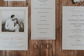 Classic Gold-Framed Wedding Invitations