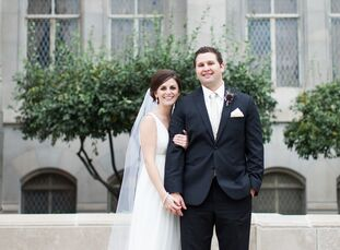 Madison Briscoe (25 and a third grade teacher) and Andrew Quinnette's (26 and a CPA) gorgeous wedding uses a chic color palette of plum, gold and cham