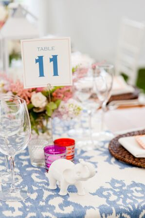Table Topped with Ikat Linen and Elephant Figurines