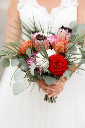 Tropical Bouquet with Roses, Protea and Eucalyptus