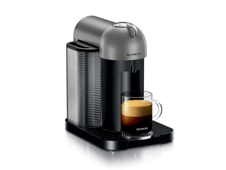 Nespresso Vertuo machine in black and gray fourth anniversary appliance gift