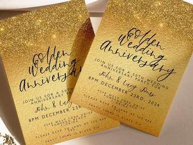 Glittery gold 50th anniversary invitations