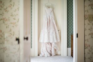 Blush A-Line Wedding Dress With Lace Details