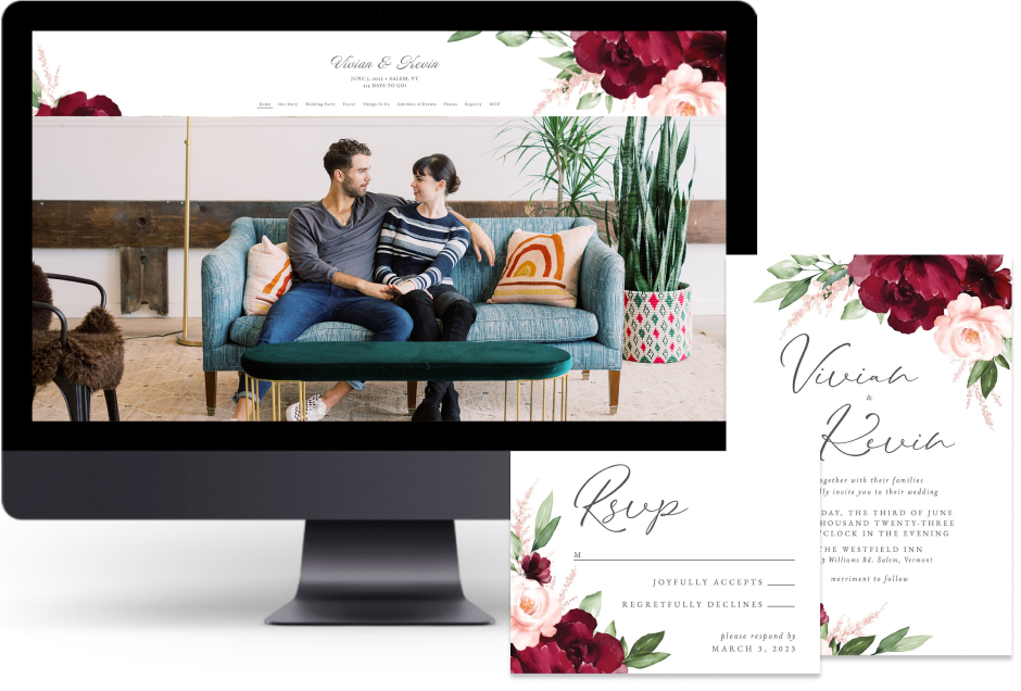Red Beloved Floral wedding website design with matching paper suite