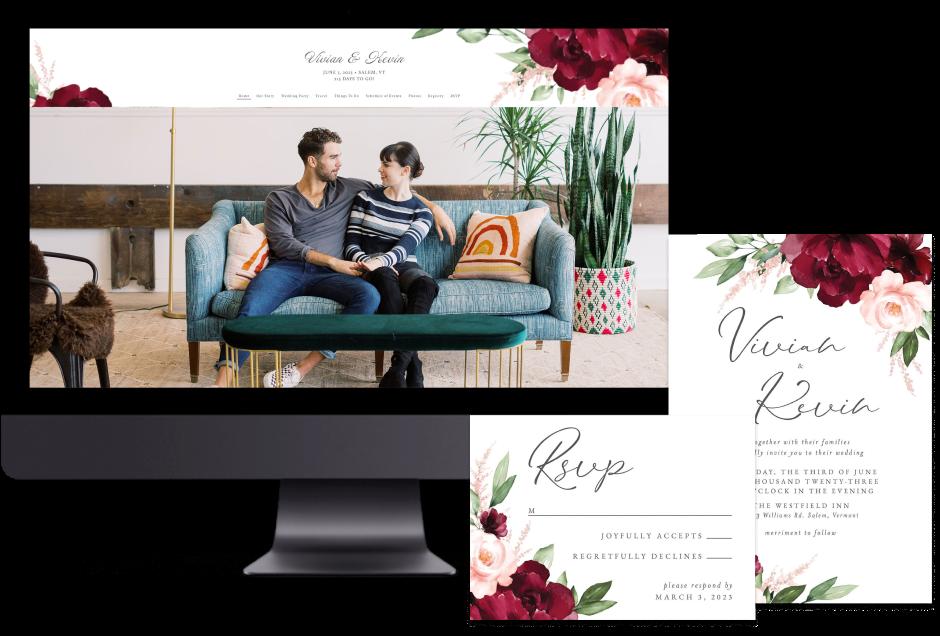 Red Beloved Floral wedding website design with matching paper suite