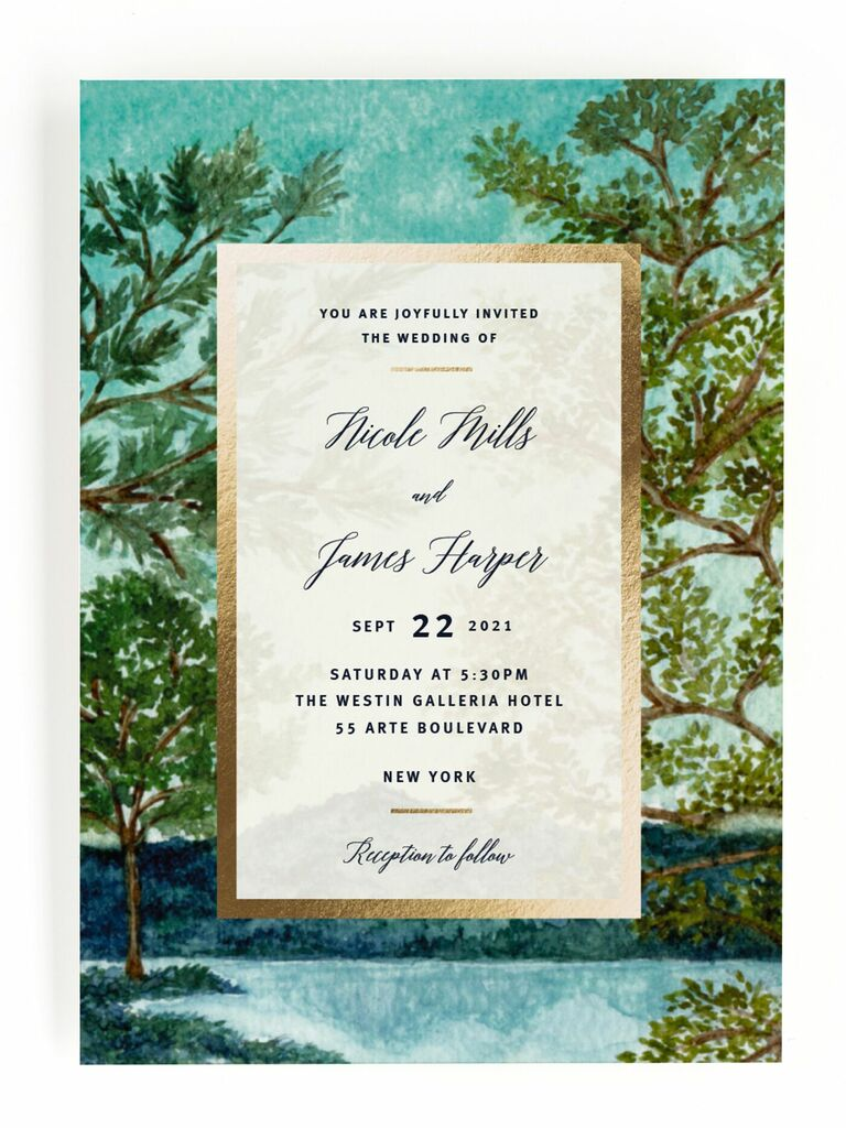 Nature-inspired rustic wedding invitation