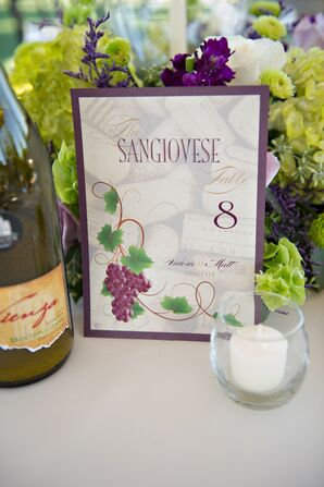 Purple, White and Green Vineyard-Themed Table Numbers