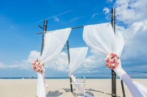 Industrial Wedding Arbor With White Fabric