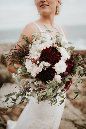 Burgundy and Blush Rose and Dahlia Bouquet