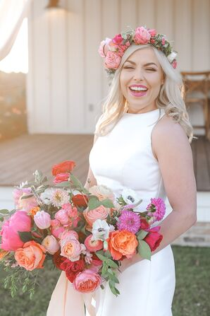 Pink Bouquet and Flower Crown of Roses