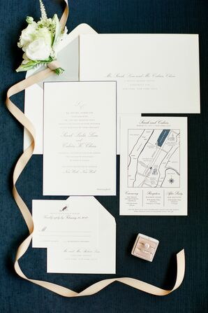Classic Navy-Lined Invitation Suite with a Custom Map