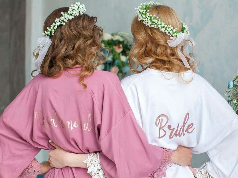 Esty White And Pink Robe With Bride Bridesmaid On The Back