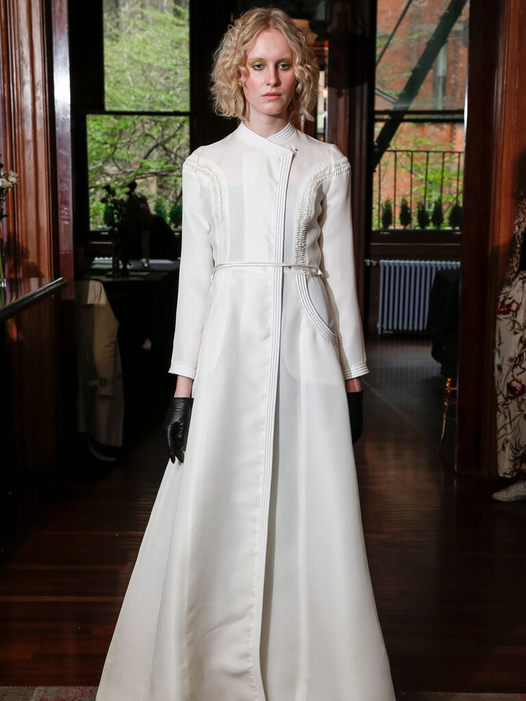 Monica Byrne Spring 2020 Bridal Collection white long-sleeve wedding dress