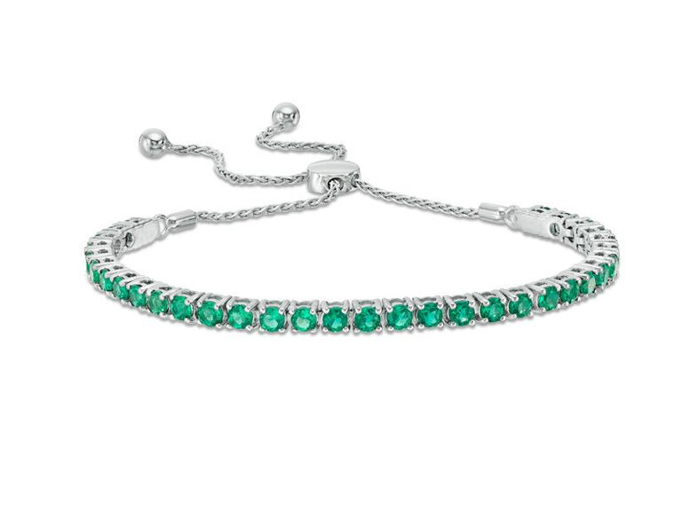 Emerald and silver bolo bracelet 20th anniversary gemstone gift